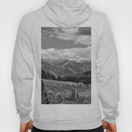 panorama cloudy alps serfaus fiss ladis tyrol austria europe black white Hoody