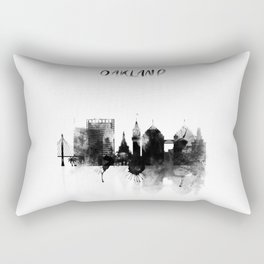 Oakland Black and White Skyline poster Rectangular Pillow