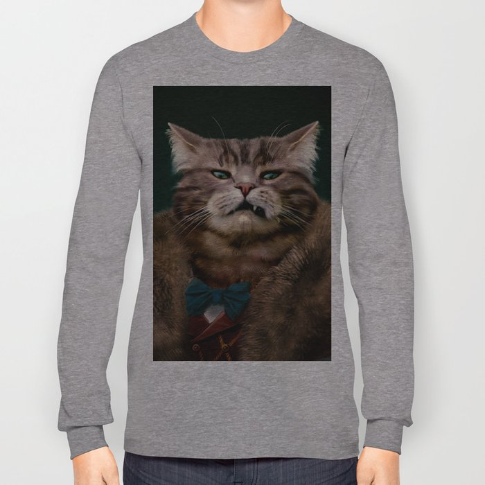 Arrogant sophisticated dressed cat boss looking with contempt Long Sleeve T-shirt
