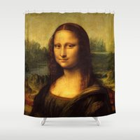 mona lisa Shower Curtains featuring Mona Lisa by Color and Patterns