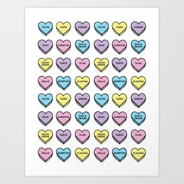 Baesic Candy Hearts - Mexican Food Art Print