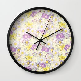 Vintage pattern- Spring in purple and yellow- daffodils and anemones Wall Clock