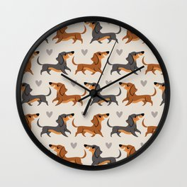 Dachshund Pups Wall Clock