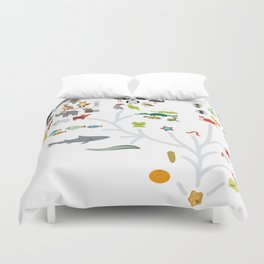 Evolution scale from unicellular organism to mammals. Evolution in biology, scheme evolution of anim Duvet Cover