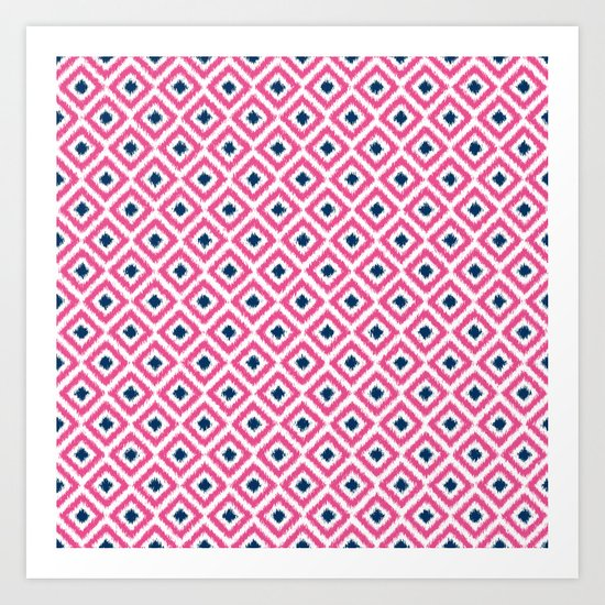 Pink and Navy Blue Diamonds Ikat Pattern Art Print