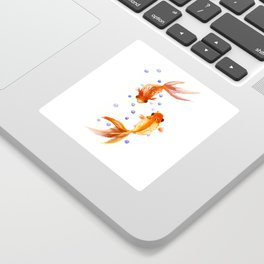 Goldfish, two fish, Koi Asian Style watercolor art, feng shui Sticker