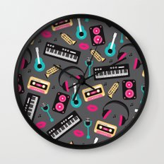 Jazz music instruments and sounds pattern Wall Clock