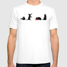 Cats Black on White SMALL White Mens Fitted Tee