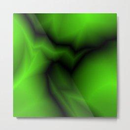 Dark lines of green lightning with a voluminous gap. Metal Print