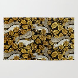 Verneuil's Art Nouveau Squirrels in Gold and Silver Rug