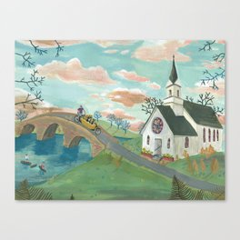 Dogs on a bike Canvas Print