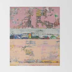 Dogbane Pink Abstract Painting Print Throw Blanket