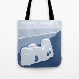 Labyrinth on the Shore, Sketch, Cyanotype Tote Bag