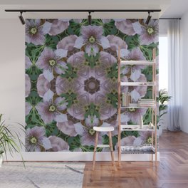 Hellebore Mandala - Abstract Floral Art by Fluid Nature Wall Mural