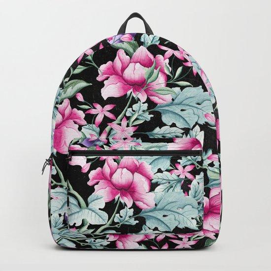 Floral Pattern 1 Black Backpack