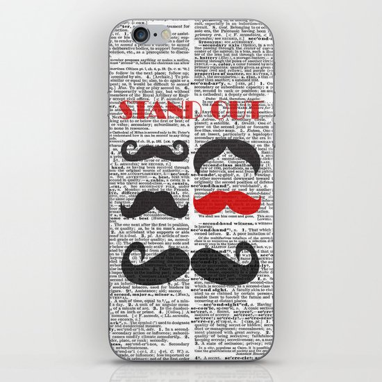 """Stand Out Mustache"" Dictionary Page – Original Digital Art Print iPhone & iPod Skin"