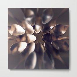 Round of golden spoons Metal Print