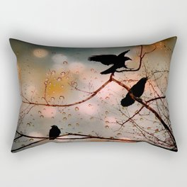 Rainy Day Crows Rectangular Pillow