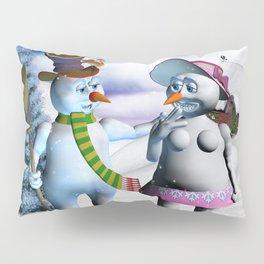 Funny, cute snowman and snow women Pillow Sham