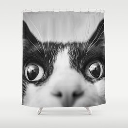 Funny Cat black and white Shower Curtain