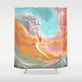 Fantasy Dragon and Clouds Shower Curtain
