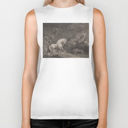 George Stubbs A Horse Affrighted by a Lion Black and White Vintage Ink Illustaration Fantasy Art Biker Tank