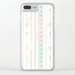 Geometrical blush blue coral pink bohemian arrows Clear iPhone Case