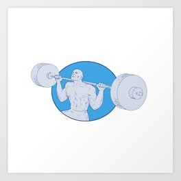 Strongman Powerlifting Barbell Drawing Art Print