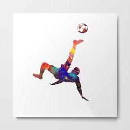 Mens Football Man Doing Tricks With Footbal Quote Metal Print
