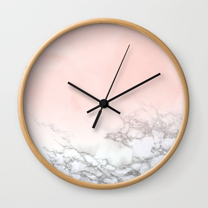 Rose Gold Pink Pastel Marble Luxe Fade II Wall Clock