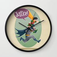justice league Wall Clocks featuring JUSTICE! by stoopz