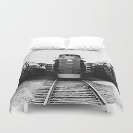 Three of a Kind Train Locomotives - Trois locomotives du même genre  Duvet Cover