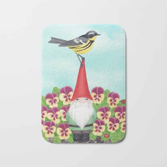 gnome with magnolia warbler and pansies Bath Mat