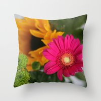 hot pink Throw Pillows featuring hot pink by EnglishRose23