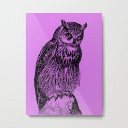Owl #01 purple Metal Print