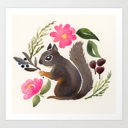 Pacific Forest Squirrel Art Print