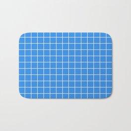 Bleu de France - blue color - White Lines Grid Pattern Bath Mat