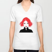 black widow V-neck T-shirts featuring Black Widow by Irene Flores