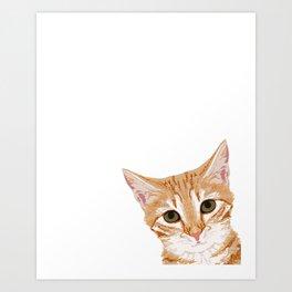 Peeking Orange Tabby Cat - cute funny cat meme for cat ladies cat people Art Print