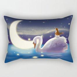 Beautiful Fly Swan And Girl Rectangular Pillow