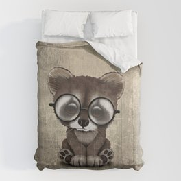 Cute Nerdy Raccoon Wearing Glasses Comforters