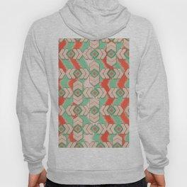 Aztec Emerald Orange Ikat Tribal Diamond Chevron Pattern Hoody