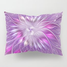 Pink Flower Passion, Abstract Fractal Art Pillow Sham