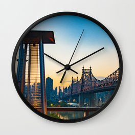 Fire Pit Against Backdrop of Queensboro Bridge in New York City (Sunset Photography) Art Print Wall Clock