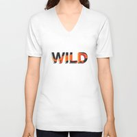 into the wild V-neck T-shirts featuring wild by Lasse Egholm