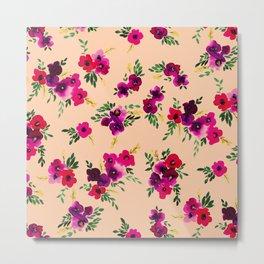 Ava Floral Peach Metal Print