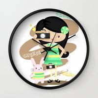 photographer Wall Clocks featuring Photographer by Inkley