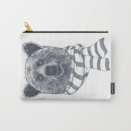 Winter Bear Drawing Carry-All Pouch
