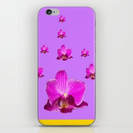 PURPLE ORCHID FLOWERS RAIN YELLOW ART iPhone Skin