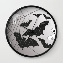 Ghosts and Bats Spiderweb Halloween Wall Clock